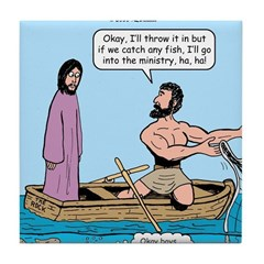 Fishing with Jesus Tile Coaster