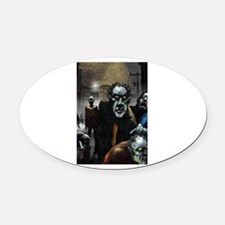 Zombie Party Oval Car Magnet