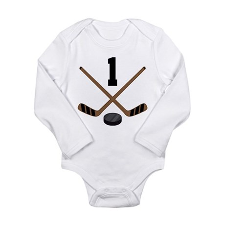 Hockey Player Number 1 Long Sleeve Infant Bodysuit
