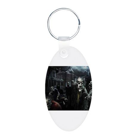 Zombie Party Aluminum Oval Keychain