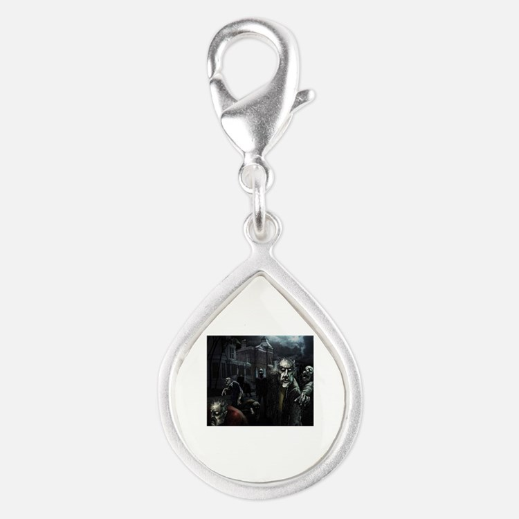 Zombie Party Silver Teardrop Charm