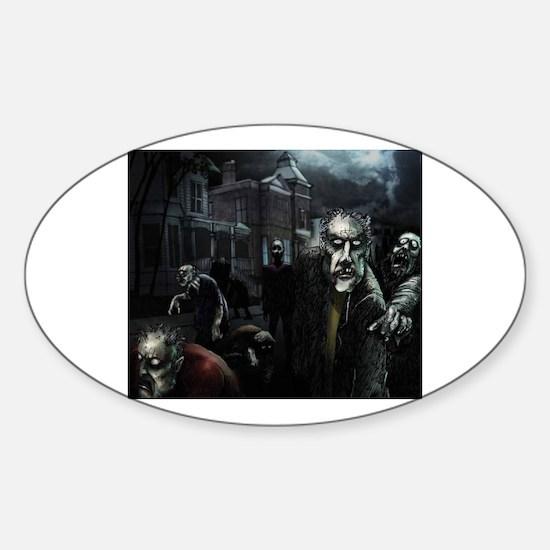 Zombie Party Sticker (Oval)