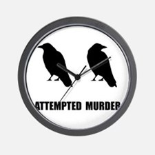 Attempted Murder Of Crows Wall Clock