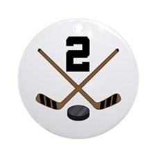 Hockey Player Number 2 Ornament (Round)