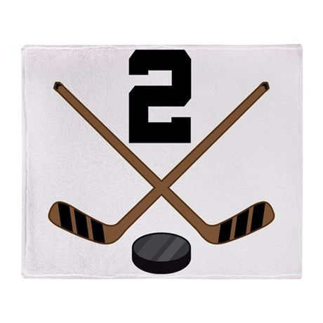 Hockey Player Number 2 Throw Blanket