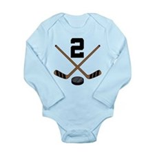 Hockey Player Number 2 Long Sleeve Infant Bodysuit