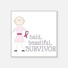 "Bald Beautiful Square Sticker 3"" x 3"""
