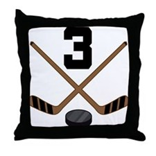 Hockey Player Number 3 Throw Pillow