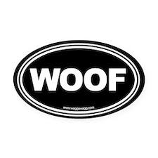 Wag More Bark Less Black Oval Car Magnet