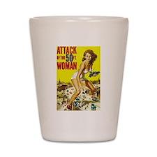 Vintage Attack Woman Comic Shot Glass