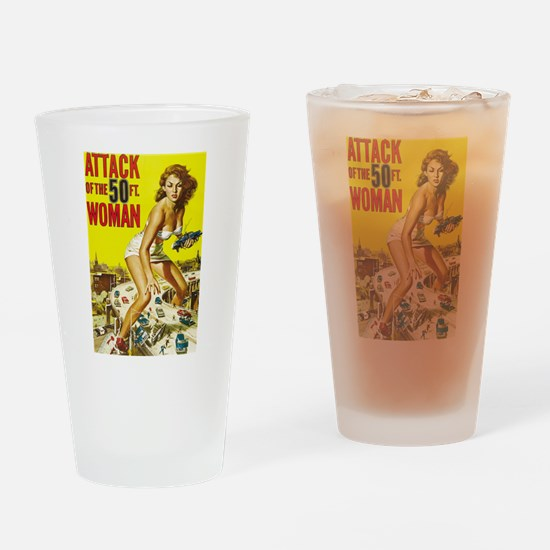 Vintage Attack Woman Comic Drinking Glass