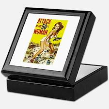 Vintage Attack Woman Comic Keepsake Box