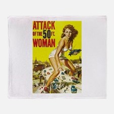 Vintage Attack Woman Comic Throw Blanket
