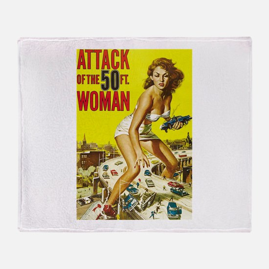 Vintage Attack Woman Comic Throw Blanket