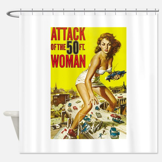 Vintage Attack Woman Comic Shower Curtain