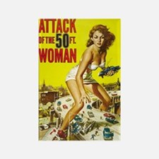 Vintage Attack Woman Comic Rectangle Magnet