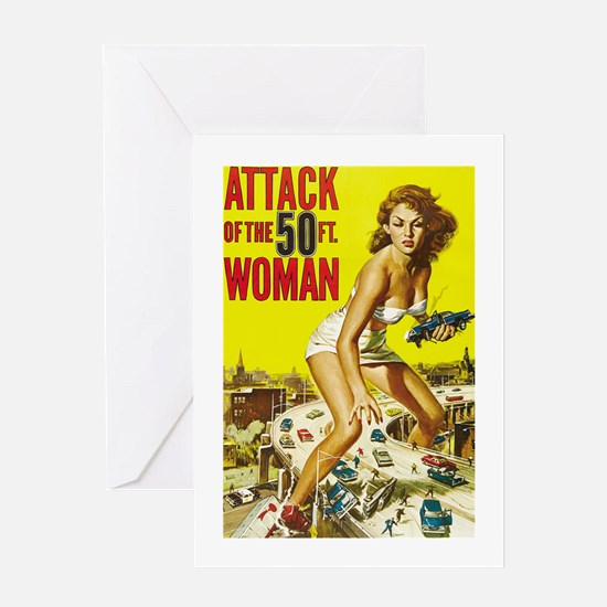 Vintage Attack Woman Comic Greeting Card