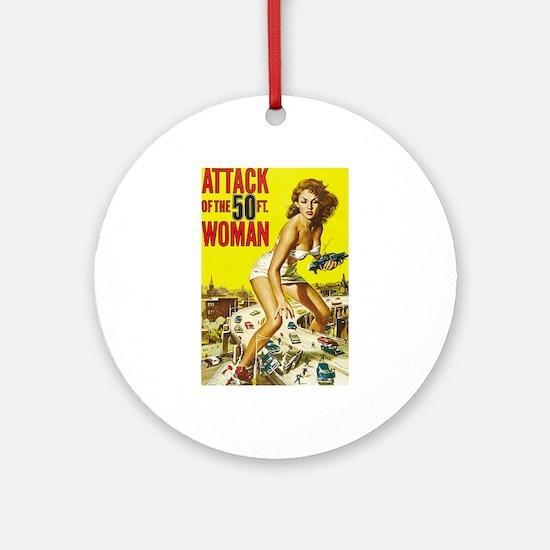 Vintage Attack Woman Comic Ornament (Round)