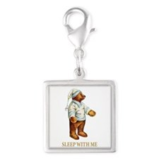 Sleepy Time Bear Silver Square Charm