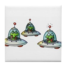 THREE ALIENS Tile Coaster