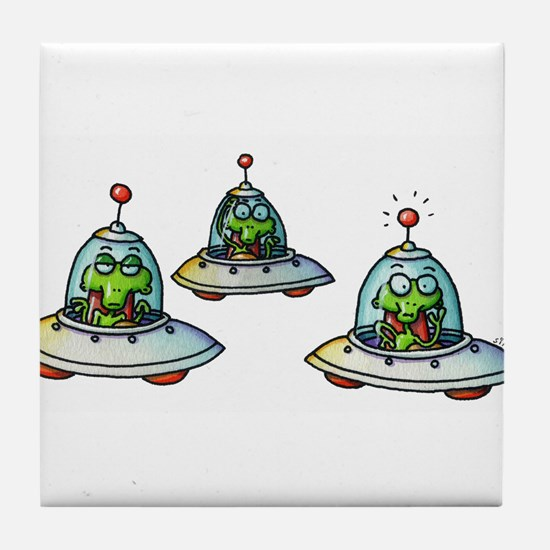 THREE ALIENS Tile Coaster