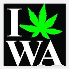 "I Love WA Square Car Magnet 3"" x 3"""