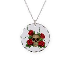 Skull Rose bed Necklace Circle Charm