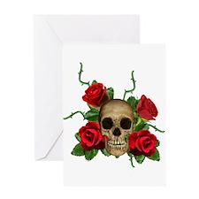 Skull Rose bed Greeting Card