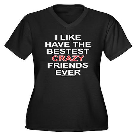 CRAZY FRIENDS Women's Plus Size V-Neck Dark T-Shir