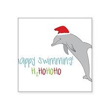 """Happy Swimming Square Sticker 3"""" x 3"""""""