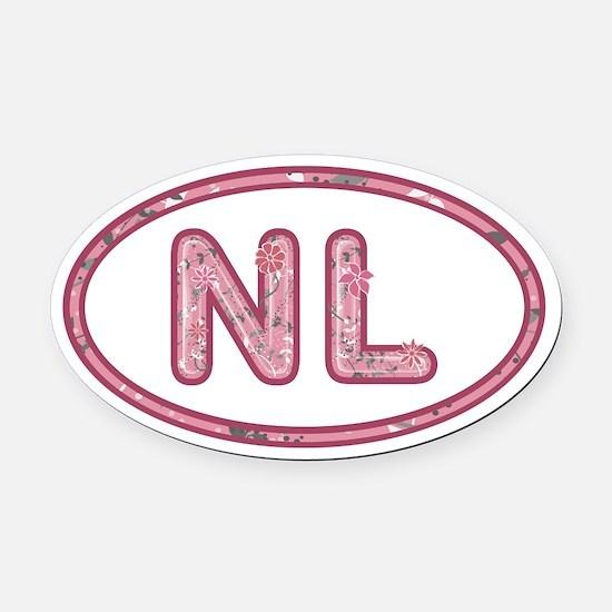 NL Pink Oval Car Magnet