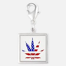 American Pot Leaf Silver Square Charm
