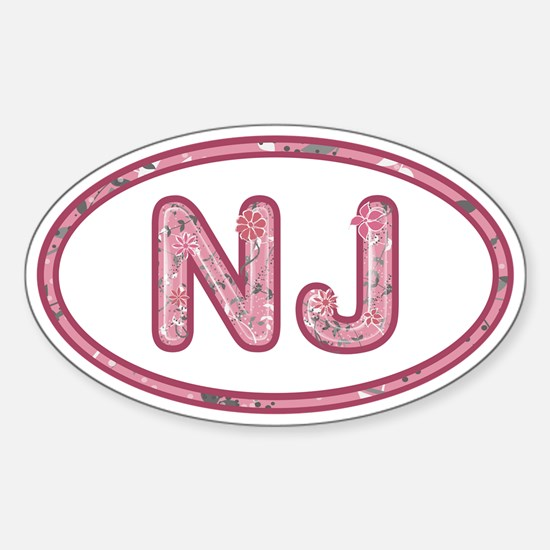 NJ Pink Sticker (Oval)