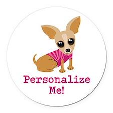 Custom Pink Chihuahua Round Car Magnet