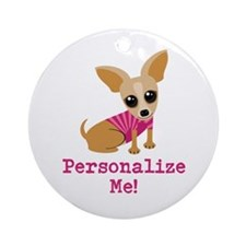 Custom Pink Chihuahua Ornament (Round)
