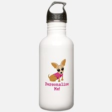 Custom Pink Chihuahua Water Bottle