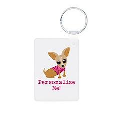 Custom Pink Chihuahua Keychains
