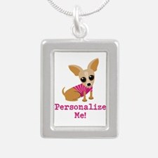 Custom Pink Chihuahua Silver Portrait Necklace