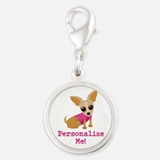 Custom Pink Chihuahua Silver Round Charm