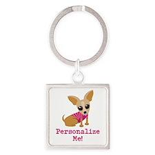 Custom Pink Chihuahua Square Keychain