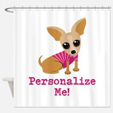 Custom Pink Chihuahua Shower Curtain
