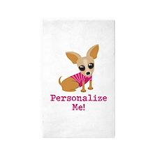 Custom Pink Chihuahua 3'x5' Area Rug