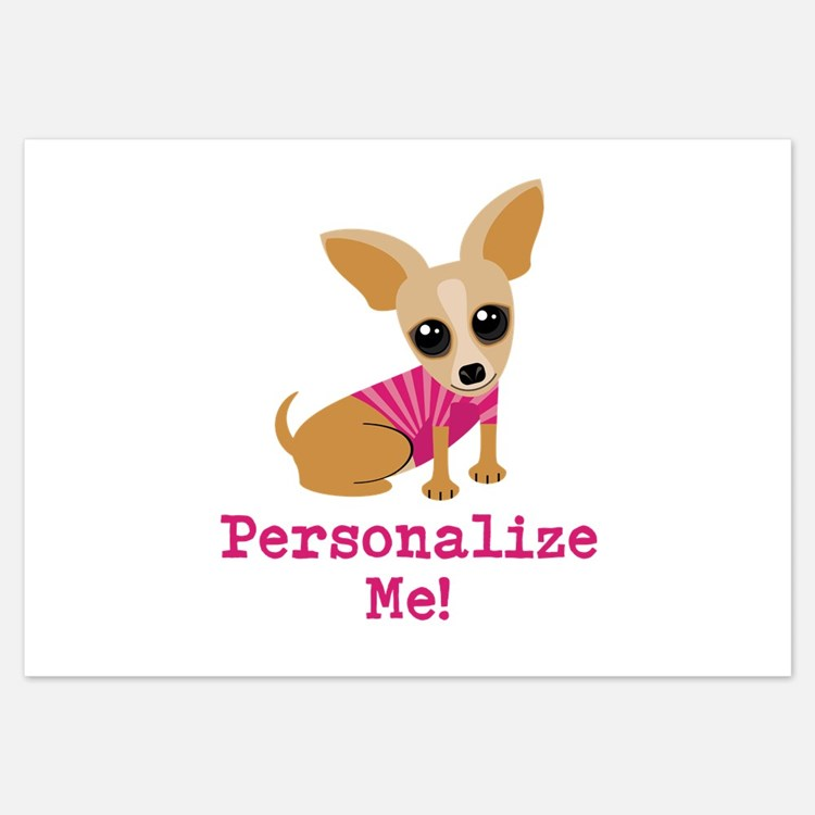Custom Pink Chihuahua 3.5 x 5 Flat Cards