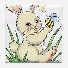 Bunny with BumbleBee Tile Coaster