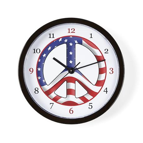 Patriotic Peace Wall Clock