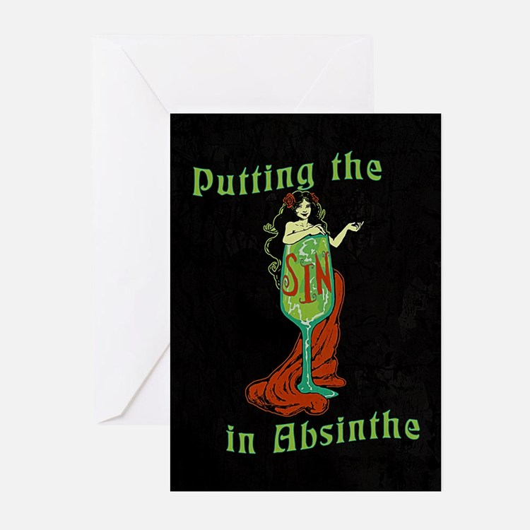 Putting The Sin In Absinthe Greeting Cards (Pk of