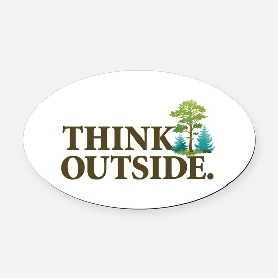 Think Outside Oval Car Magnet