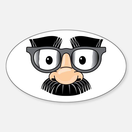 Funny Mustache Disguise Sticker (Oval)