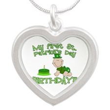 First St Patrick's Day Birthday Silver Heart Neckl