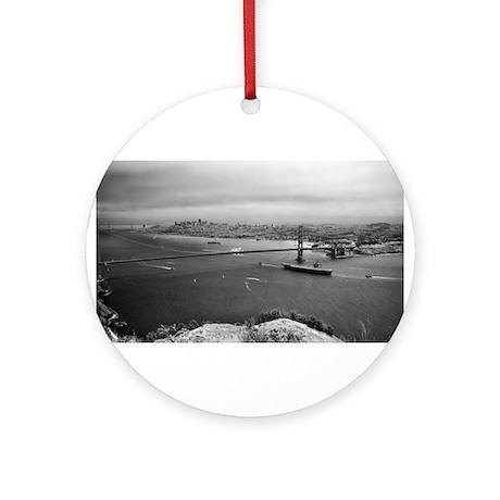 USS Nimitz - Golden Gate Bridge Ornament (Round)